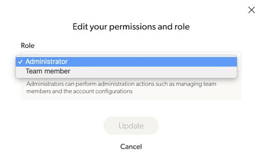 Team member permissions level