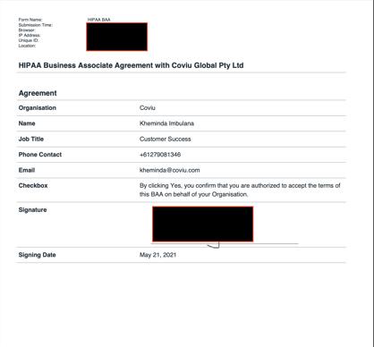 HIPAA Agreement Document