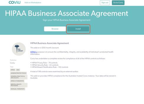 HIPAA Agreement Addon Installation