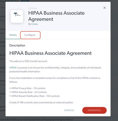 HIPAA Agreement Addon Configuration