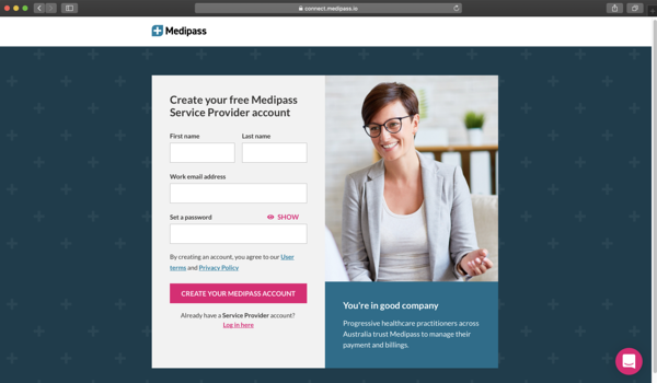 sign up to Medipass