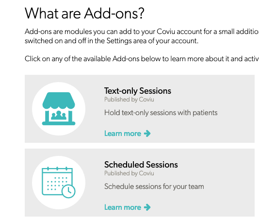 Tect-only session addons