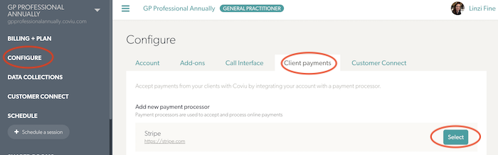 Client Payment tab