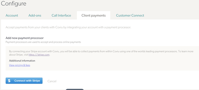 Client Payment Stripe Selection