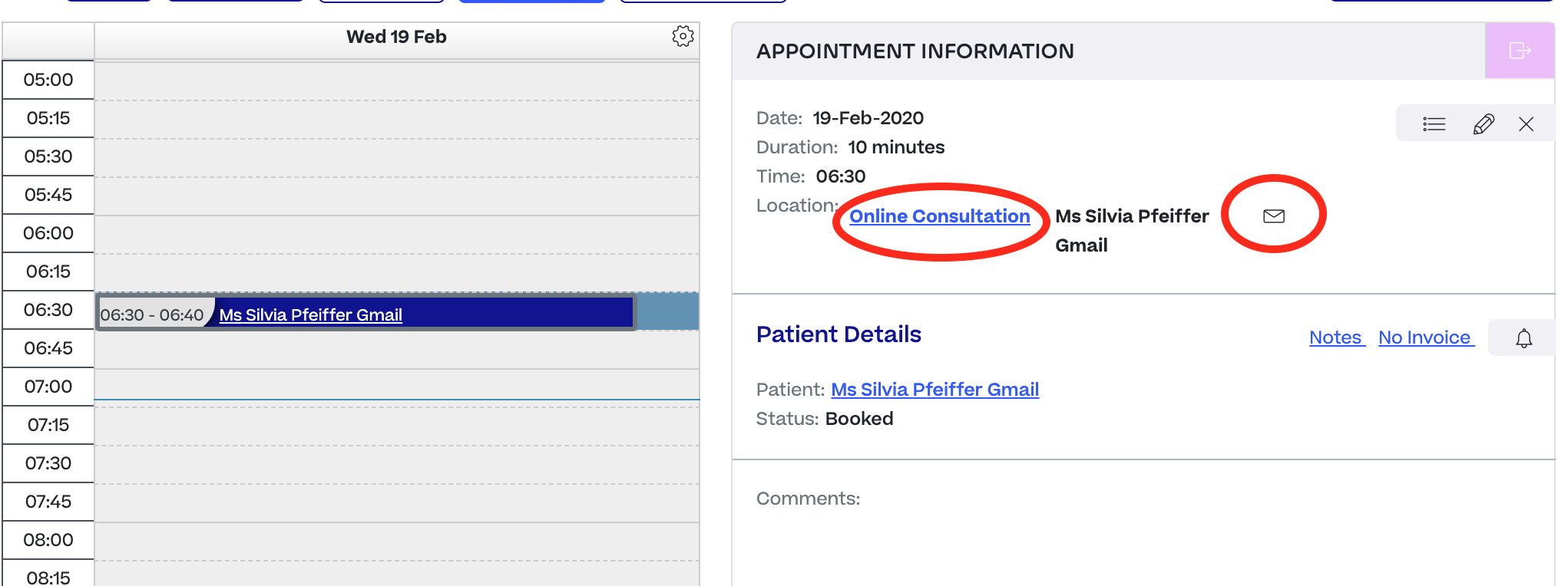 Halaxy Appointment information