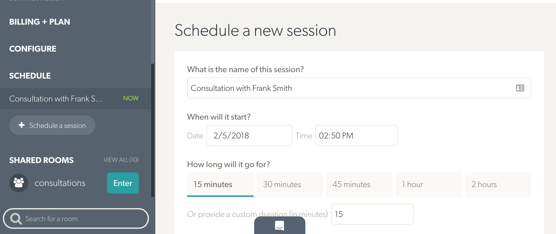 Schedule new session