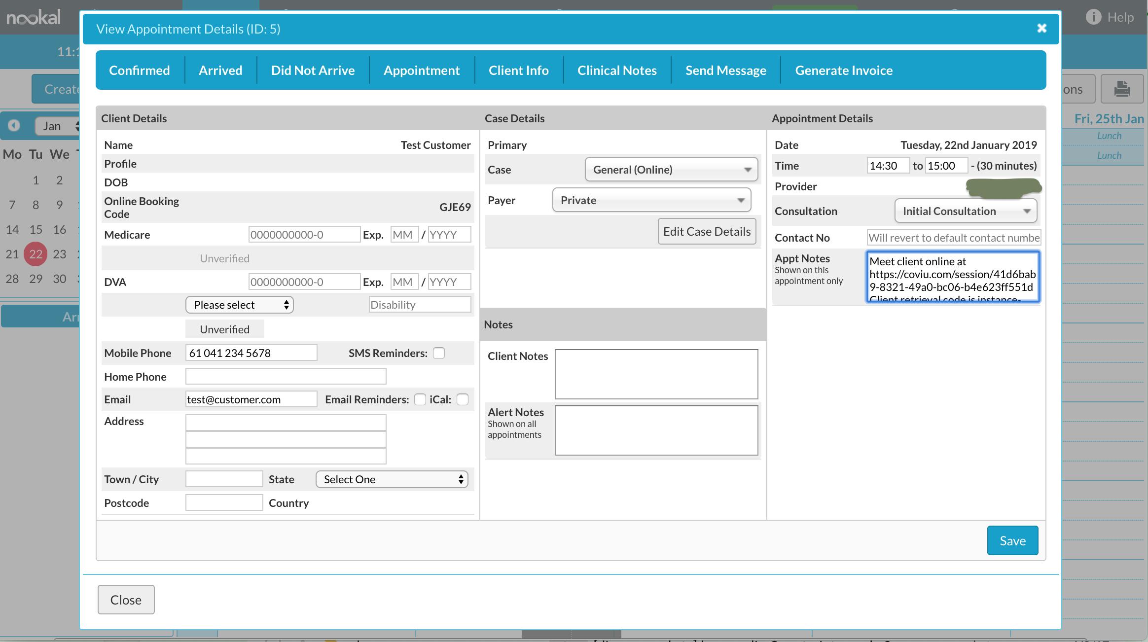 Nookal Integration Booking Details