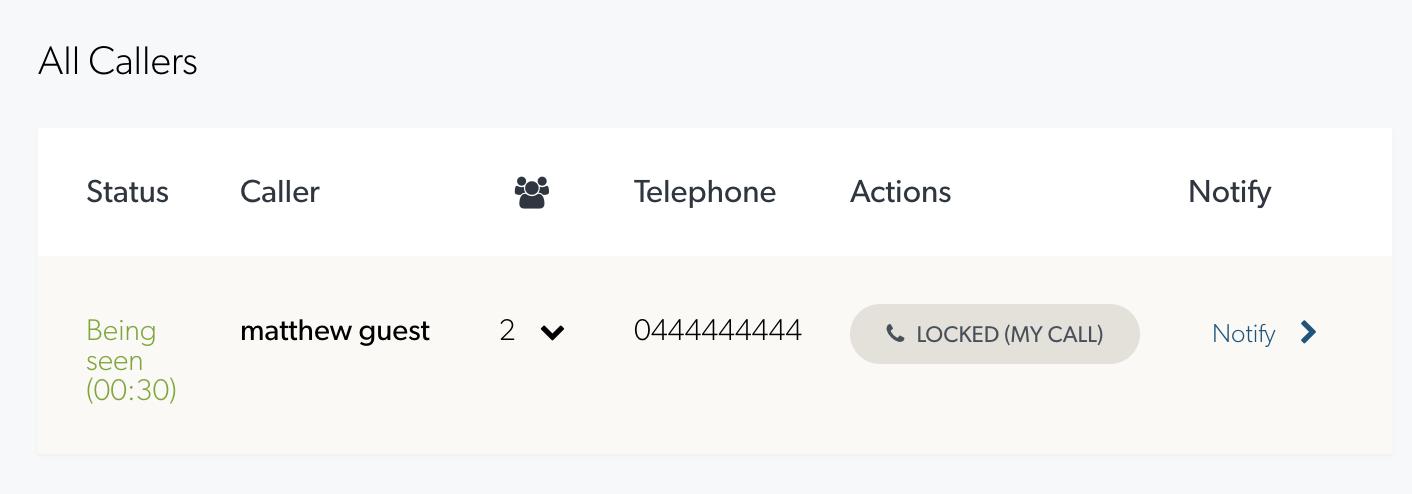 Call locked status