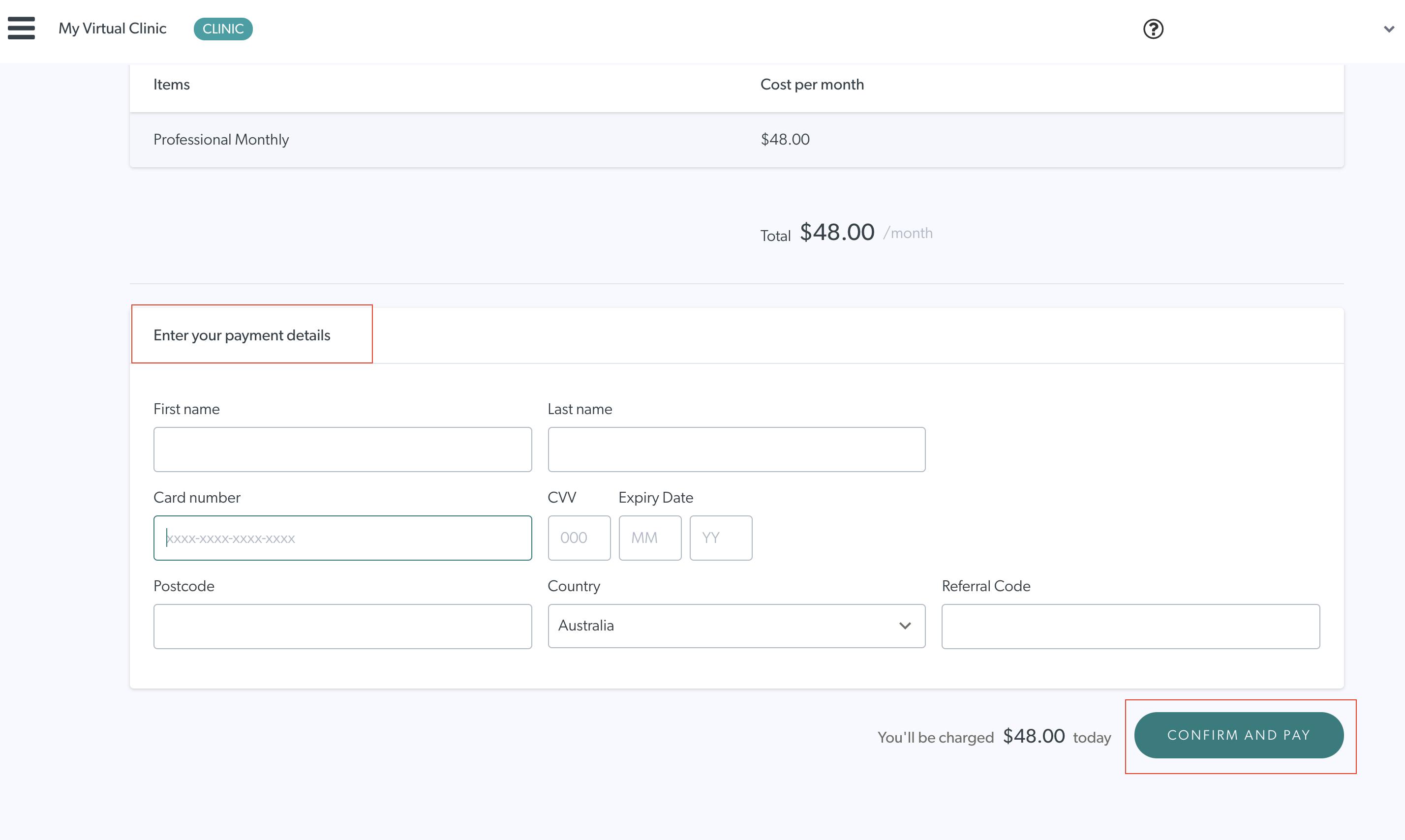 Coviu Plan Payment Details