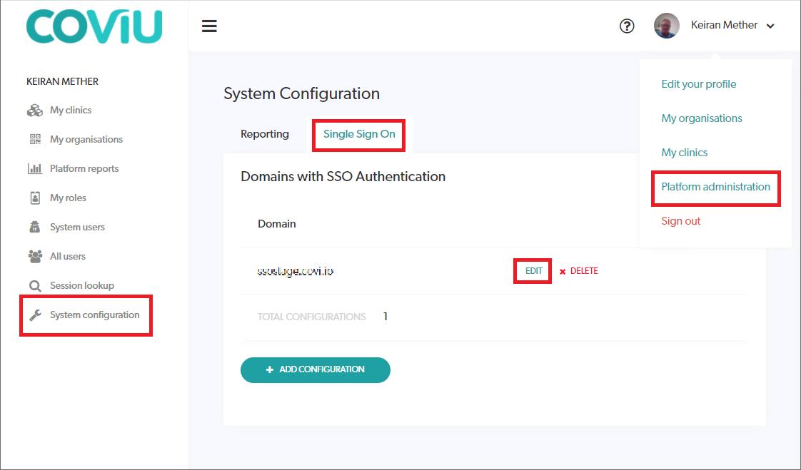 Single Signon Configuration