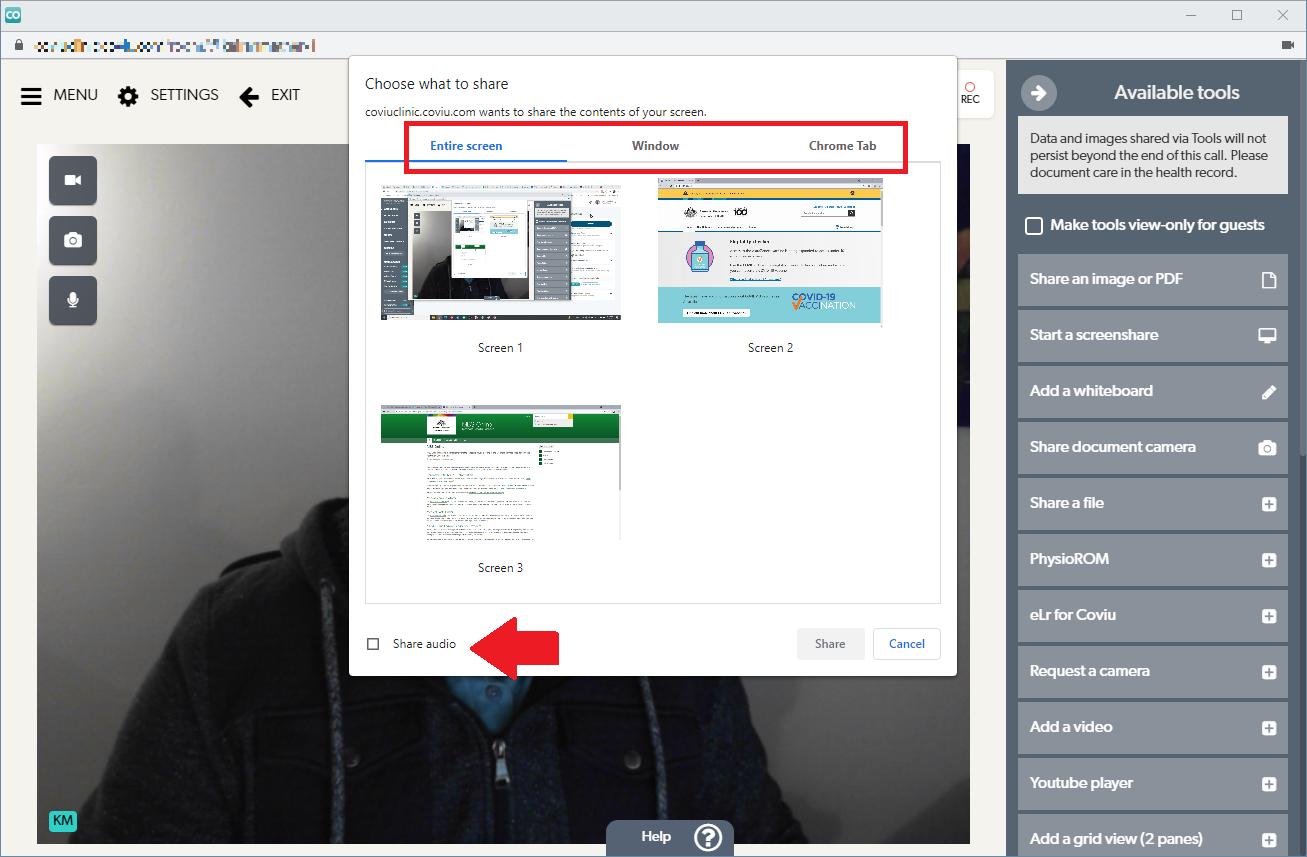 Select Screenshare