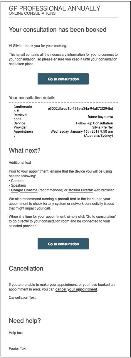 Patient Consultation Confirmation