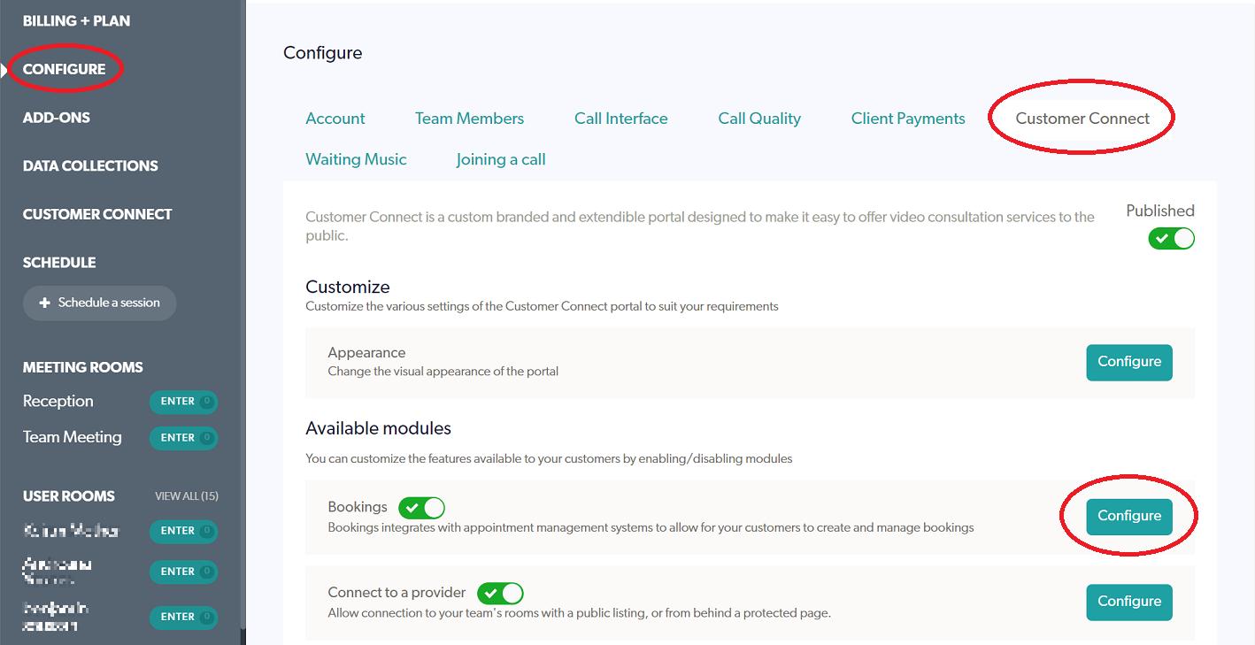 Nookal Integration Customer Connect Menu Tab